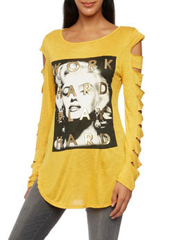 Tunic Top with Marilyn Monroe Graphic and Slash Detail - MUSTARD - 3036067330146