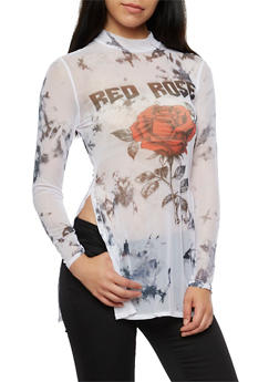 Long Sleeve Mesh Graphic Top - 3036067330207