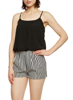 Chiffon and Striped Romper - 3045051060775