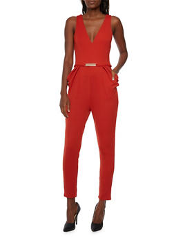 Knit Jumpsuit with Fixed Metallic Belt Accent - 3045058752511