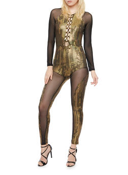 Mesh Lace Up Catsuit with Printed Paneling - 3045058752531