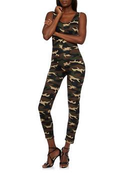 Sleeveless Camo Jumpsuit - 3045058752620