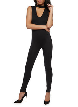 Sleeveless Basic Jumpsuit with Keyhole - 3045058752830