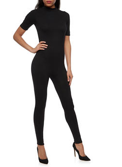 Short Sleeve Mock Neck Catsuit with Zipper Back - 3045058752833