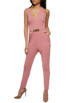 Soft Knit Sleeveless Jumpsuit with Metal Bar Belt - SLATE ROSE - 3045058752835