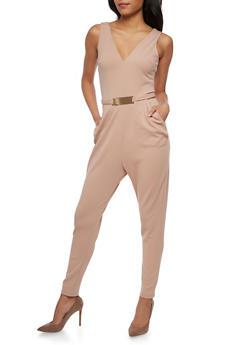 Soft Knit Sleeveless Jumpsuit with Metal Bar Belt - MOCHA - 3045058752835