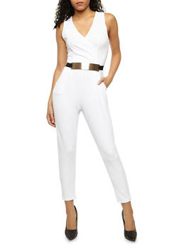 Belted Faux Wrap Jumpsuit - WHITE - 3045058752836