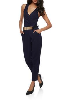 Belted Faux Wrap Jumpsuit - 3045058752836