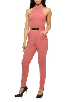 Soft Knit Jumpsuit with Metallic Accent - 3045058752837