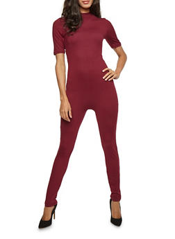 Mock Neck Soft Knit Catsuit - 3045058752923