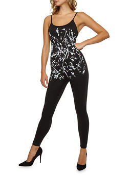 Paint Splatter Sleeveless Catsuit - 3045058930807