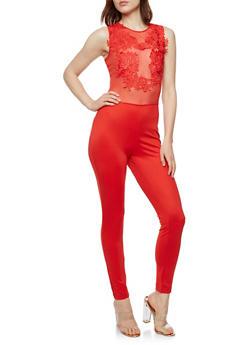 Crochet Mesh Jumpsuit - RED - 3045058932924