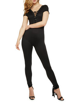 Solid Lace Up Catsuit - BLACK - 3045058932930