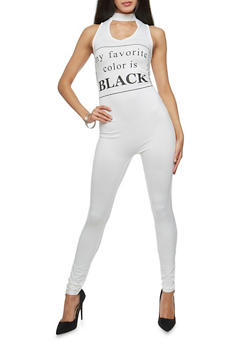 My Favorite Color is Black Graphic Catsuit - WHITE - 3045058934022