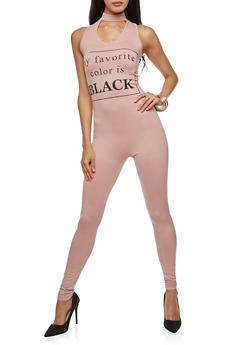 My Favorite Color is Black Graphic Catsuit - MAUVE - 3045058934022