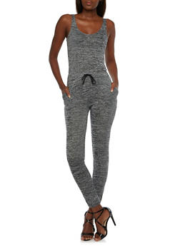 Sleeveless Space-Dye Jumpsuit with Drawstring - 3045061630460