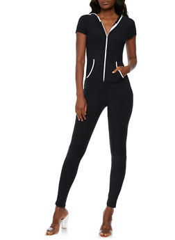 Hooded Short Sleeve Jumpsuit - 3045061632475