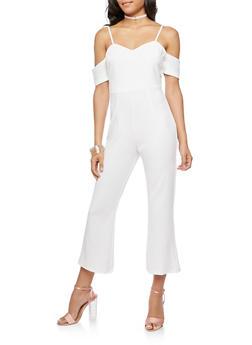Crepe Knit Flared Leg Jumpsuit - 3045069390099