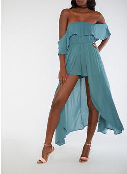Off the Shoulder Romper with Maxi Skirt Overlay - 3045069392776