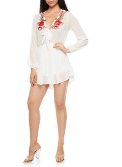 Sheer Floral Applique Long Sleeve Romper - OFF WHITE - 3045074205001