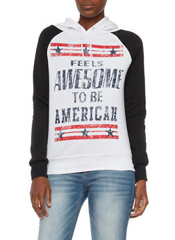 Graphic Color Block Hoodie with American Print - 3056038341710