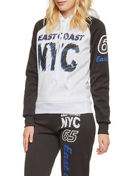 Color Block Hoodie with East Coast NYC Graphic - 3056038341900