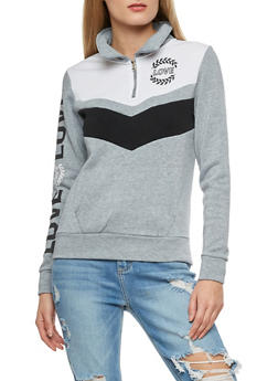 Love Graphic Striped Chevron Pullover Sweatshirt - 3056038342733