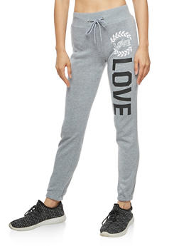 Soft Knit Love Graphic Joggers - 3056038342734