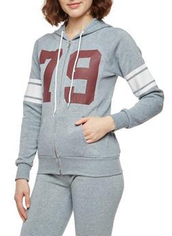 79 Graphic Zip Front Sweatshirt - 3056038342735