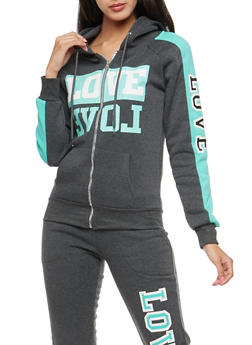 Love Graphic Zip Up Sweatshirt - 3056038342741