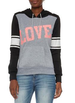 Raglan Sleeve Hoodie with Love Graphic - 3056038347112