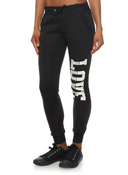 Slim Joggers with Love Graphic - 3056038347113
