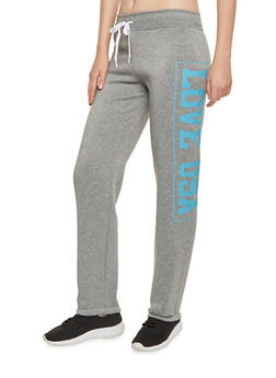 Drawstring Sweatpants with Love USA Graphic - 3056038347145