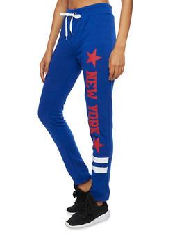 Fleece Sweatpants with New York Graphic - 3056038347156