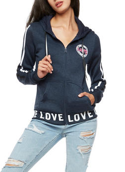 Love Zip Up Hooded Top - 3056051061038
