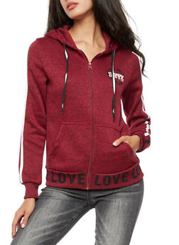 Love Zip Up Hooded Sweatshirt - 3056051061038