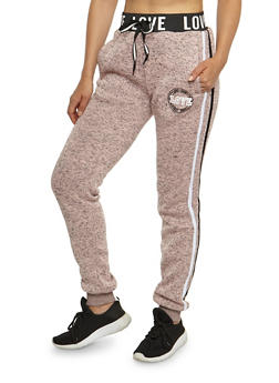 Love Athletic Stripes Graphic Joggers - 3056051061039