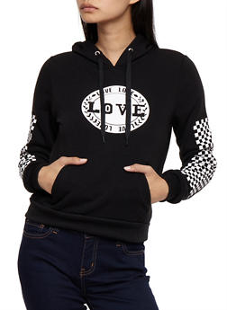 Love Graphic Pull Over Hoodie with Checkered Sleeve Detail - 3056051061350
