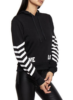Soft Knit Love Graphic Sweatshirt with Chevron Sleeve Detail - 3056051061370