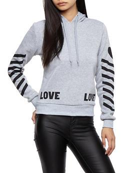 Soft Knit Love Graphic Sweatshirt with Chevron Sleeve Detail - 3056051061370
