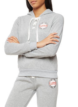 Soft Knit Lace Up Love Graphic Hooded Sweatshirt - 3056051061400