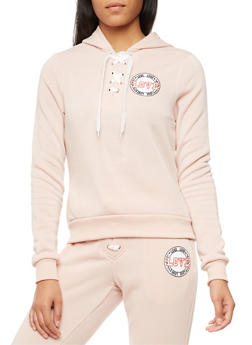 Soft Knit Lace Up Love Graphic Sweatshirt - 3056051061400