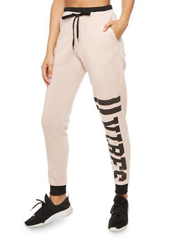 Graphic Vibes Sweatpants with Contrast Waistband - 3056051062541