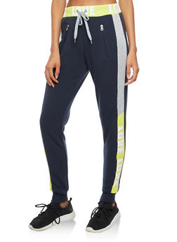 Color Block Love Graphic Waistband Joggers - 3056051063550