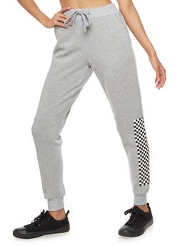 Checkerboard Accent Fleece Joggers - 3056051064300