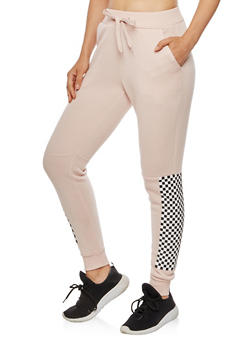 Checkerboard Accent Fleece Joggers - 3056051064300