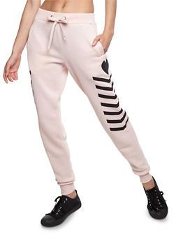 Multi Stripe Fleece Joggers - MAUVE - 3056051064500