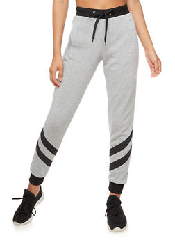 Fleece Joggers With Striped Bottom - 3056051065460