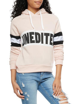 Unedited Graphic Color Block Hooded Sweatshirt - 3056051066136
