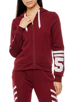 Soft Knit Graphic Zip Front Hoodie - 3056051067613